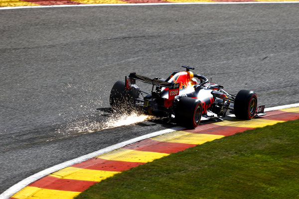 Sparks trail from Max Verstappen, Red Bull Racing RB16