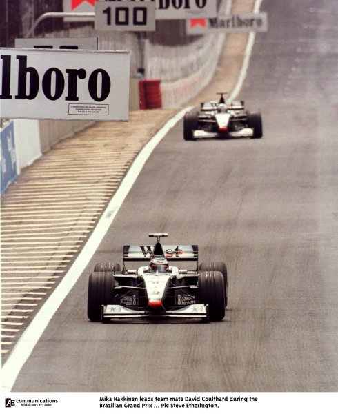 1998 Brazilian Grand Prix.Interlagos, Sao Paulo, Brazil.27-29 March 1998.Mika Hakkinen leads David Coulthard (both McLaren MP4/13 Mercedes-Benz). They finished in 1st and 2nd positions respectively.World Copyright - Steve Etherington/LAT Photographic