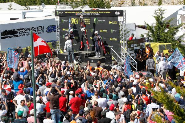 2014 FIA World Rallycross Championship Round 1 Montalegre, Portugal 3rd & 4th May 2014 Andreas Bakkerud. Petter Solberg. Reinis Nitiss. Podium Super Car. Portrait.   Worldwide Copyright: McKlein/LAT