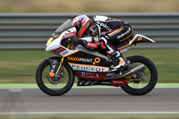 2017 Moto3 Championship - Round 14 Aragon, Spain. Friday 22 September 2017 Jakub Kornfeil, Peugeot MC Saxoprint World Copyright: Gold and Goose / LAT Images ref: Digital Image 694017