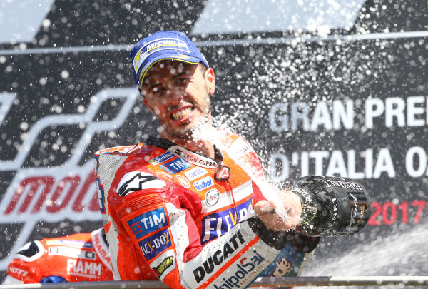 2017 MotoGP Championship - Round 6 Mugello, Italy Sunday 4 June 2017 Podium: Race winner Andrea Dovizioso, Ducati Team World Copyright: Gold & Goose Photography/LAT Images ref: Digital Image 674660