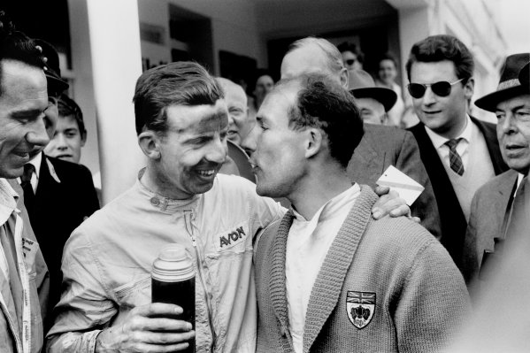 Nurburgring, Germany.1-3 August 1958.Tony Brooks (Vanwall) 1st position, drinks from a flask with team mate Stirling Moss (Vanwall) retired, portrait.World Copyright - LAT Photographic.Ref: 7990B #30