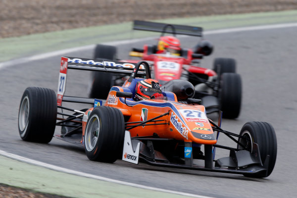FIA F3 European Championship Hockenheim, Germany 1st - 3rd May 2015 27 Mikkel Jensen (DNK, kfzteile24 Mücke Motorsport, Dallara F312 – Mercedes-Benz), 25 Lance Stroll (CAN, Prema Powerteam, Dallara F312 – Mercedes-Benz). (Race 3). Copyright Free FOR EDITORIAL USE ONLY. Mandatory Credit: FIA F3. ref: Digital Image FIAF3-1430677951