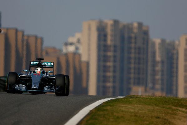 Shanghai International Circuit, Shanghai, China. Saturday 11 April 2015. Lewis Hamilton, Mercedes F1 W06 Hybrid. World Copyright: Andrew Hone/LAT Photographic. ref: Digital Image _ONZ1326