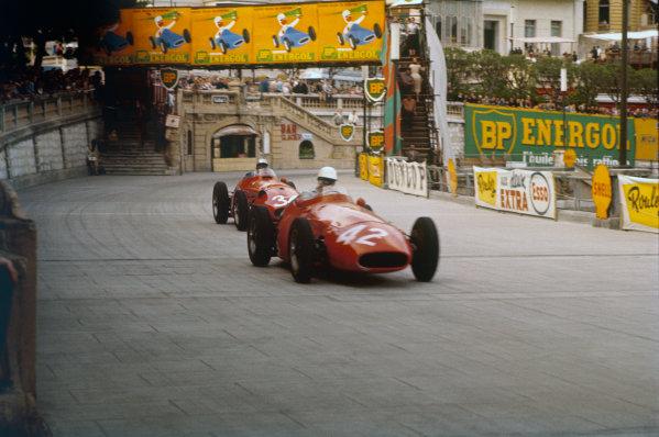 Monte Carlo, Monaco. 16-19 May 1957. Luigi Piotti leads Giorgio Scarlatti (both Maserati 250F) during practice. Piotti did not qualify.  Ref-57 MON 08. World Copyright - LAT Photographic