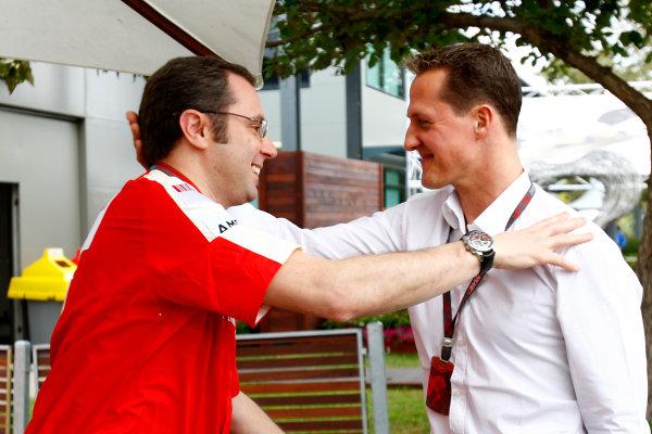 Albert Park, Melbourne, Australia27th March 2009.Stefano Domenicali, Sporting Director, Ferrari and Michael Schumacher, Ferrari.World Copyright: Lorenzo Bellanca/LAT Photographicref: Digital Image _64I9114