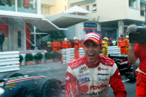Saturday Race. 23rd May 2009. Pastor Maldonado (VEN, ART Grand Prix) celebrates his victory. World Copyright: Alastair Staley / GP2 Series Media Service.Ref: _H3A5519 jpg