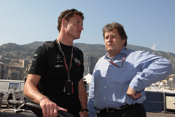 2004 Monaco Grand Prix - Wednesday,2004 Monaco Grand Prix Monaco. 19th May 2004 David Coulthard, McLaren Mercedes MP4/19, and Norbert Haug overlook the principality from the Monaco cliffs. World Copyright: Steve Etherington/LAT Photographic ref: Digital Image Only