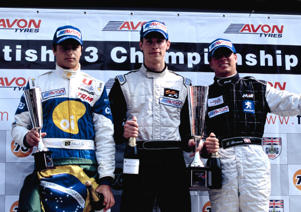2003 British Formula Three ChampionshipSnetterton, England. 19th - 20th April 2003.Race 1 podium - Alan van der Merwe (Carlin Motorsport) 1st, Nelson Piquet Jr (Piquet Sports) 2nd and Ronnie Bremer 3rd.World Copyright: Glenn Dunbar/LAT Photographicref: 35mm Image