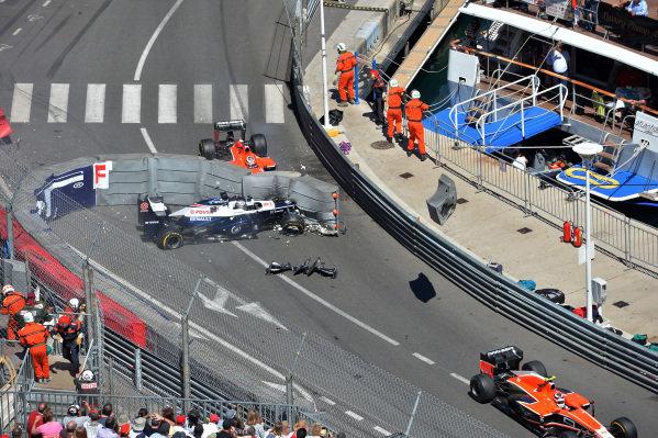 Pastor Maldonado (VEN) Williams FW35 and Max Chilton (GBR) Marussia F1 Team MR02 crash bringing out the red flag. Formula One World Championship, Rd6, Monaco Grand Prix, Race Day, Monte-Carlo, Monaco, Sunday 26 May 2013.