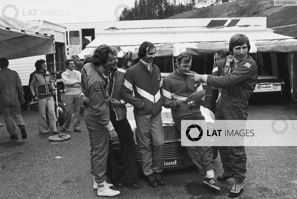Salzburgring, Austria.L to R: Gunnar Nilsson, Tim Schenken, John Fitzpatrick and Derek Bell in the paddock during testing, portrait. World Copyright: LAT Photographic.Ref:  9750 - 16A.