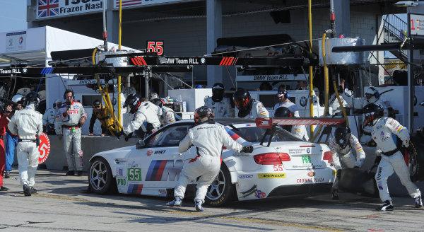 14-19 March 2011. Sebring, Florida USA#55 BMW Motorsport BMW M3 GT pitstop©2011 Dan R. Boyd LAT Photo USA
