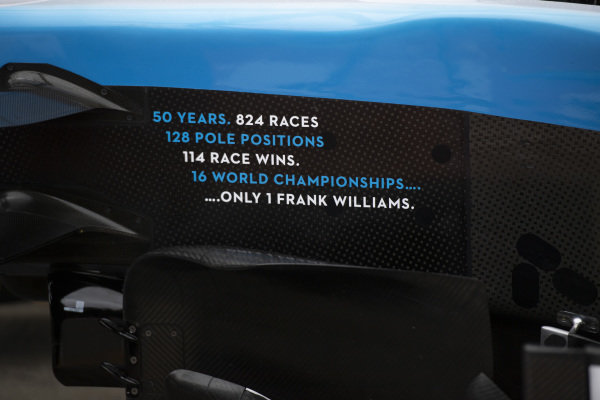 A tribute to Sir Frank Williams, on the side of a Williams FW42
