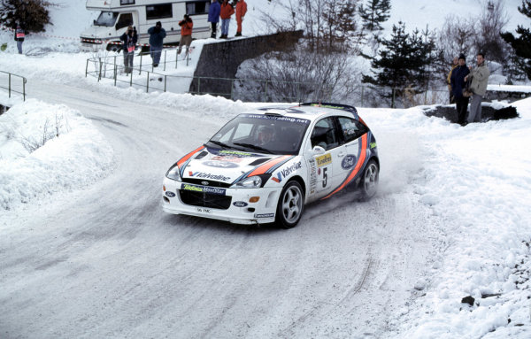 WRC Monte Carlo 2000Colin McRae, Ford Focus, in action in the snow.Photo: McKlein/LATTel: +44 (0)181 251 3000Fax: +44 (0)181 251 3001Somerset House, Somerset Road, Teddington, Middlesex, United Kingdon. TW11 8RU