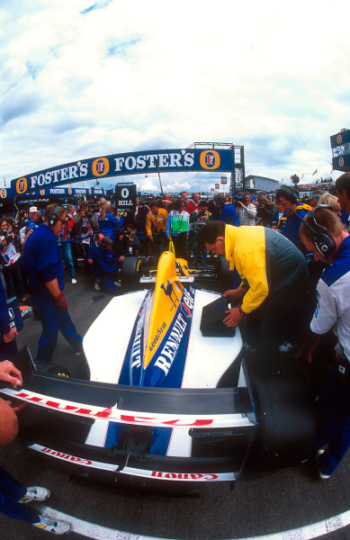1993 British Grand Prix.Silverstone, England.9-11 July 1993.Damon Hill (Williams FW15C Renault) on pole position before the start of the Grand Prix.Ref-93 GB 23.World Copyright - LAT Photographic