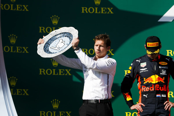 Matt Deane, Chief Mechanic, Mercedes AMG, receives the Constructors trophy for Mercedes