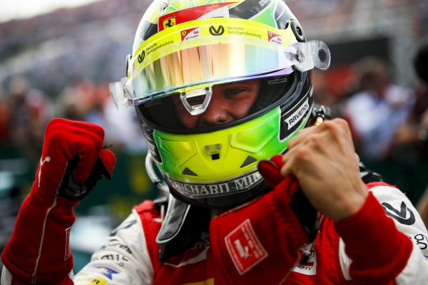 HUNGARORING, HUNGARY - AUGUST 04: Race winner Mick Schumacher (DEU, PREMA RACING) celebrates in parc ferme during the Hungaroring at Hungaroring on August 04, 2019 in Hungaroring, Hungary. (Photo by Joe Portlock / LAT Images / FIA F2 Championship)