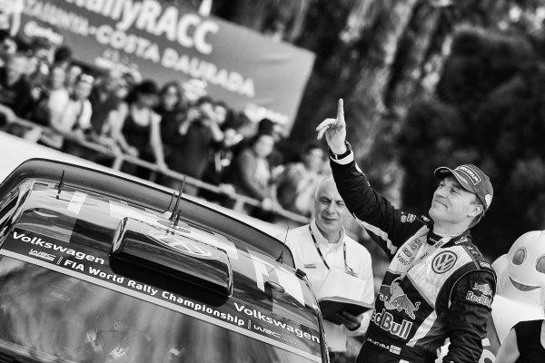Jari-Matti Latvala (FIN) Volkswagen Polo R WRC celebrates on the podium at FIA World Rally Championship, Rd12, RAAC Rally de Espana, Day Three, Costa Daurada, Catalunya, Spain, 25 October 2015.