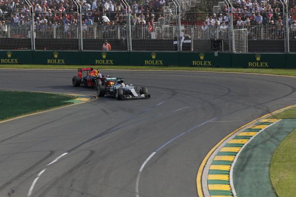Lewis Hamilton (GBR) Mercedes-Benz F1 W07 Hybrid at Formula One World Championship, Rd1, Australian Grand Prix, Race, Albert Park, Melbourne, Australia, Sunday 20 March 2016.