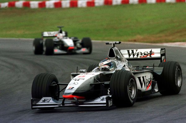 1998 Brazilian Grand Prix.Interlagos, Sao Paulo, Brazil.27-29 March 1998.Mika Hakkinen leads David Coulthard (both McLaren MP4/13 Mercedes-Benz). They finished in 1st and 2nd positions respectively.World Copyright - LAT Photographic
