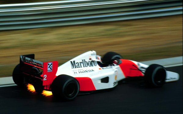 1992 Hungarian Grand Prix.Hungaroring, Budapest, Hungary.14-16 August 1992.Gerhard Berger (McLaren MP4/7A Honda) 3rd position.World Copyright - LAT Photographic