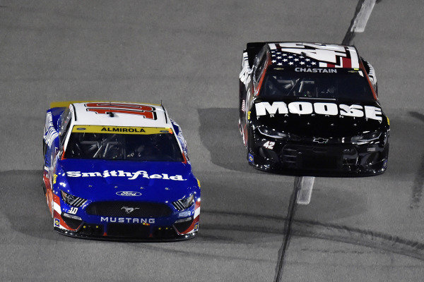 #10: Aric Almirola, Stewart-Haas Racing, Ford Mustang Smithfield/Tuesday's Children and #42: Ross Chastain, Chip Ganassi Racing, Chevrolet Camaro Moose Fraternity