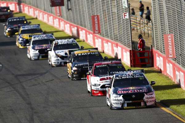 Shane van Gisbergen, Triple Eight Racing Engineering, Holden, leads Will Davidon, 23Red Racing, Ford and Tim Slade, Brad Jones Racing, Holden