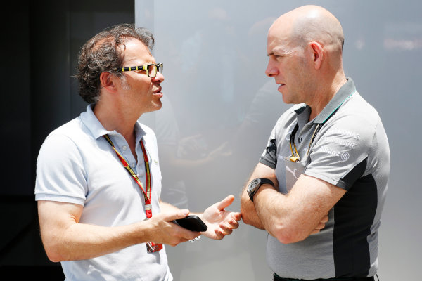 Interlagos, Sao Paulo, Brazil. Friday 7 November 2014. Jacques Villeneuve with Jock Clear, Race Engineer, Mercedes AMG. World Copyright: Charles Coates/LAT Photographic. ref: Digital Image _N7T8187