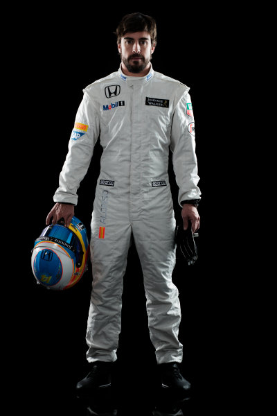 McLaren Honda MP4-30 Reveal Woking, UK. 29 January 2015 Fernando Alonso. Photo: McLaren (Copyright Free FOR EDITORIAL USE ONLY) ref: Digital Image MH-Drivers-20150127-0557