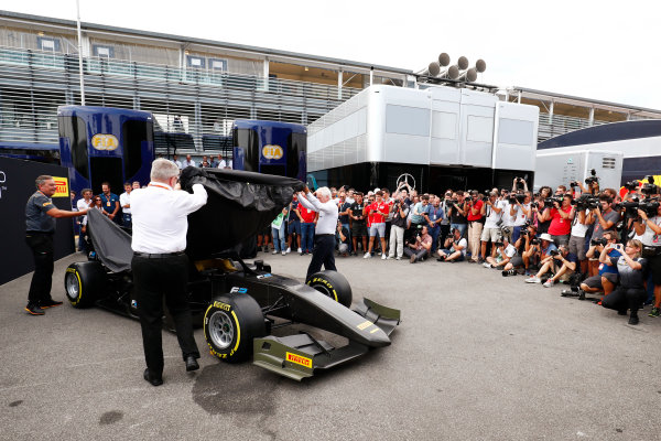 Autodromo Nazionale di Monza, Italy. Thursday 31 August 2017 The new F2 car is unveiled by Ross Brawn and Charlie Whiting. Photo: Sam Bloxham/FIA Formula 2 ref: Digital Image _W6I2000