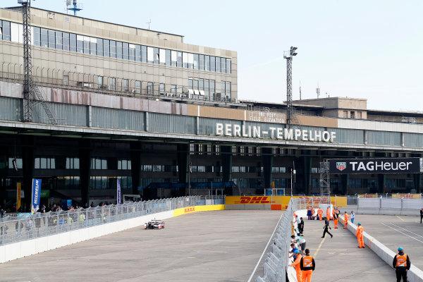 2014/2015 FIA Formula E Championship. Karun Chandhok (IND)/Mahindra Racing - Spark-Renault SRT_01E  First Practice. Berlin e-Prix, Berlin, Germany, Europe. Saturday 23 May 2015  Photo: Adam Warner/LAT/Formula E ref: Digital Image _L5R4323