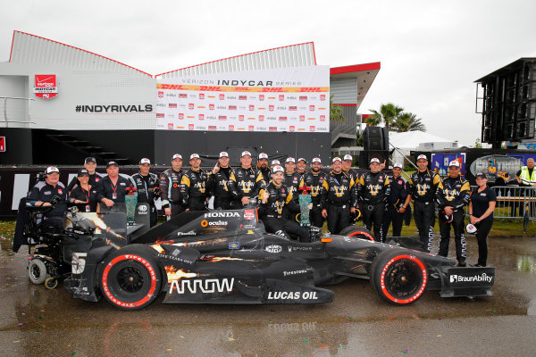 10-12 April, 2015, Avondale, Louisiana USA James Hinchcliffe celebrates in victory lane ?2015, Russell LaBounty LAT Photo USA