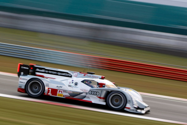 2013 FIA WEC Championship, Silverstone, Northamptonshire. 12th - 14th April 2013. Andre Lotterer / Benoit Treluyer / Marcel Fassler Audi R18 e-tron quattro. World Copyright: Ebrey / LAT Photographic.