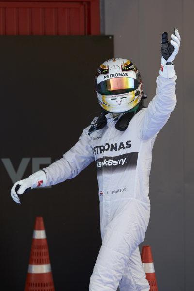 Circuit de Catalunya, Barcelona, Spain. Saturday 10 May 2014. Pole man Lewis Hamilton, Mercedes AMG, celebrates in Parc Ferme.  World Copyright: Steve EtheringtonLAT Photographic. ref: Digital Image SNE14882 copy