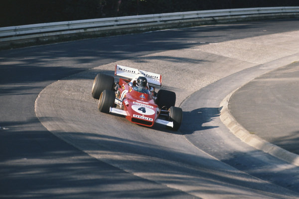 1971 German Grand Prix.  Nurburgring, Germany. 30th July - 1st August 1971.  Jacky Ickx, Ferrari 312B2, at the Karussell.  Ref: 71GER02. World Copyright: LAT Photographic