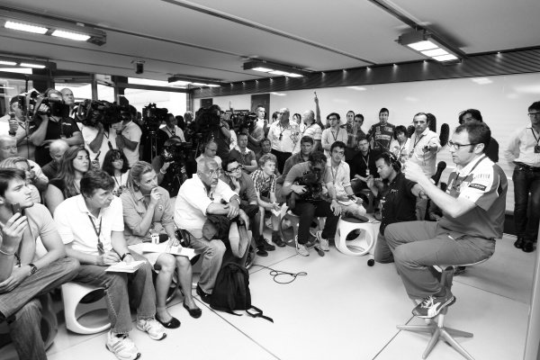 Stefano Domenicali (ITA) Ferrari General Director is grilled by the media after the race.  Formula One World Championship, Rd 11, German Grand Prix, Race, Hockenheim, Germany, Sunday 25 July 2010.  Note: This image has been digitally altered from the original, which is also available on the archive. (d10ger1770.jpg)
