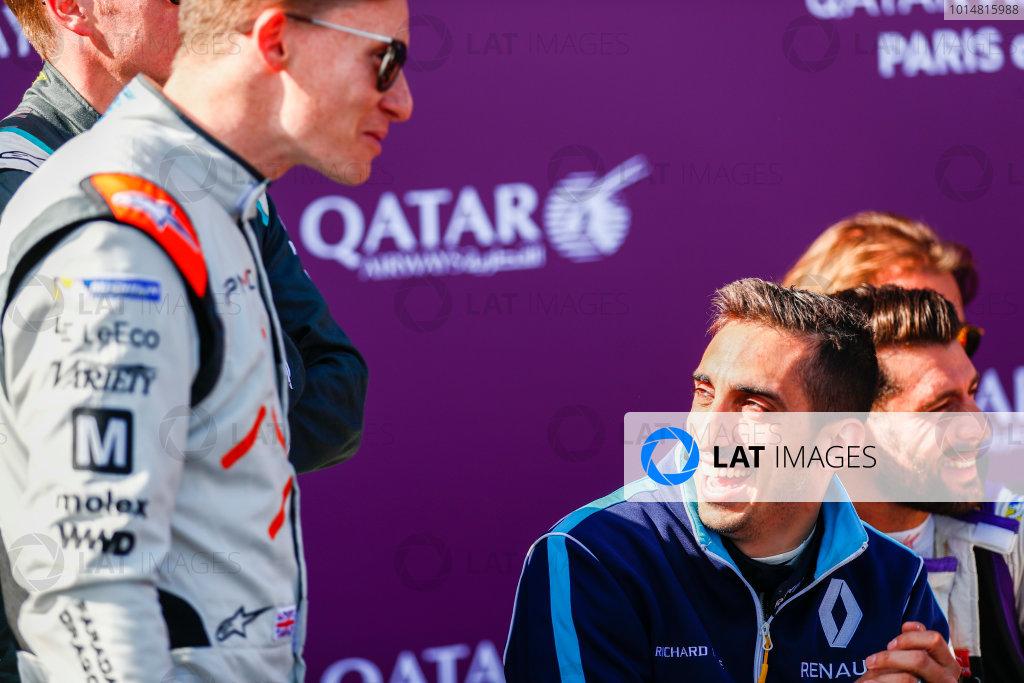 2016/2017 FIA Formula E Championship. Qatar Airways Paris ePrix, France. Saturday 20 May 2017. Mike Conway (GBR), Dragon Racing, Spark-Penske, Penske 701-EV,Sebastien Buemi (SUI), Renault e.Dams, Spark-Renault, Renault Z.E 16, Jose Maria Lopez (ARG), DS Virgin Racing, Spark-Citroen, Virgin DSV-02. Photo: Sam Bloxham/LAT/Formula E ref: Digital Image _W6I8538