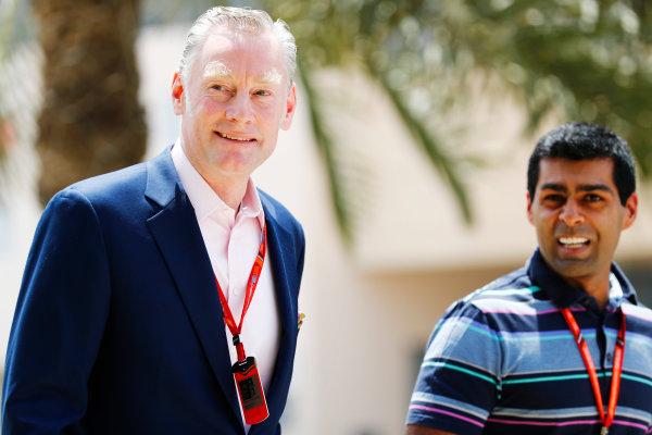 Bahrain International Circuit, Sakhir, Bahrain.  Friday 14 April 2017.Sean Bratches, Managing Director of Commercial Operations, Formula One with Karun Chandhock  World Copyright: Sam Bloxham/LAT Images ref: Digital Image _J6I8681