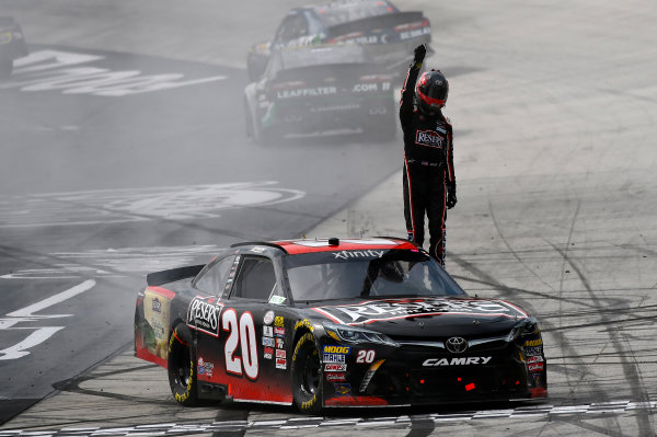 NASCAR Xfinity Series Fitzgerald Glider Kits 300 Bristol Motor Speedway, Bristol, TN USA Saturday 22 April 2017 Erik Jones, Reser's American Classic Toyota Camry celebrates his win with a burnout World Copyright: Nigel Kinrade LAT Images ref: Digital Image 17BRI1nk07002