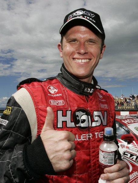 2005 Australian V8 SupercarsSymmons Plains Raceway, Australia. 11th - 13th November 2005Race winner Garth Tander (HSV Dealer Team Holden Commodore VZ), celebrates. Portrait.World Copyright: Mark Horsburgh / LAT Photographicref: 05AusV8SP43