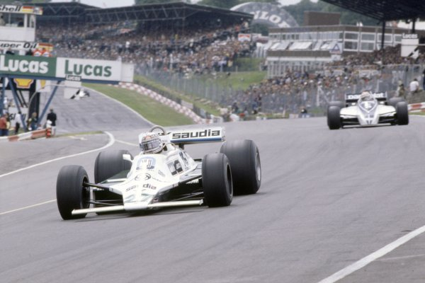 1980 British Grand Prix.Brands Hatch, Great Britain. 11-13 July 1980.Alan Jones (Williams FW07B-Ford Cosworth), 1st position, leads Nelson Piquet (Brabham BT49-Ford Cosworth), 2nd position.World Copyright: LAT PhotographicRef: 35mm transparency 80GB17