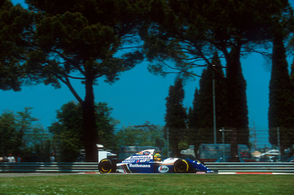 Imola, Italy.29/4-1/5 1994.Ayrton Senna (Williams FW16 Renault). He was tradgically killed after an accident on the start of lap 7.Ref-94 SM 26.World Copyright - LAT Photographic