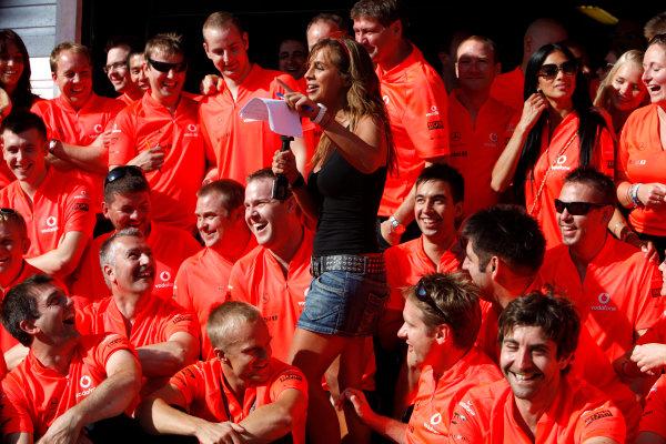 Hungaroring, Budapest, Hungary26th July 2009The McLaren team gather to celebrate the victory of Lewis Hamilton, McLaren MP4-24 Mercedes, 1st position. Portrait. World Copyright: Glenn Dunbar/LAT Photographicref: Digital Image GD5D9852