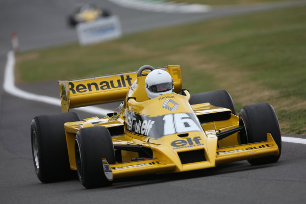 Silverstone, Northamptonshire, UK.  Saturday 15 July 2017. A Rene Arnoux raced Renault RS01 is driven in a parade celebrating 40 years since the Renault team first entered a Formula 1 Grand Prix. World Copyright: Dom Romney/LAT Images  ref: Digital Image 11DXA6999