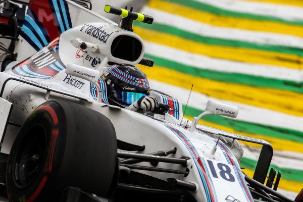 Interlagos, Sao Paulo, Brazil. Friday 10 November 2017. Lance Stroll, Williams FW40 Mercedes. World Copyright: Charles Coates/LAT Images  ref: Digital Image DJ5R5462