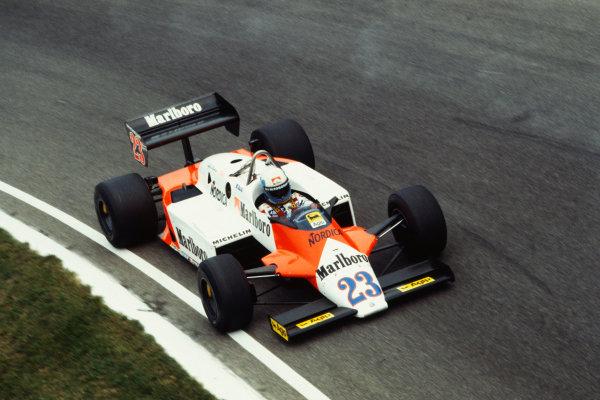 1983 Italian Grand Prix  Monza, Italy. 9-11 September 1983.  Mauro Baldi, Alfa Romeo 183T, retired.  Ref: 83ITA02. World Copyright: LAT Photographic