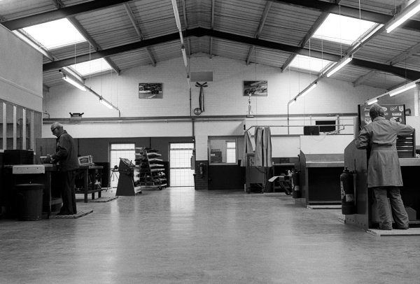 Inside the Penske factory in Poole, Dorset.Formula One World Championship, Penske UK Headquarters, Poole, Dorset, England, c. May 1977.