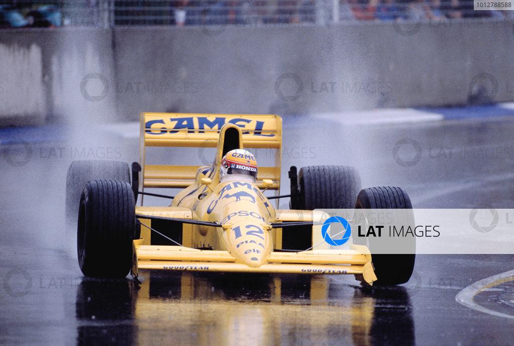 1989 Australian Grand Prix.Adelaide, Australia.3-5 November 1989.Satoru Nakajima (Lotus 101 Judd) 4th position.Ref-89 AUS 39.World Copyright - LAT Photographic
