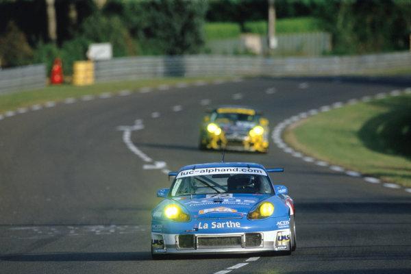 2004 Le Mans 24 HoursLe Mans, France. 12th - 13th June 2004.Alphand/Lavielle/Almeras (Luc Alphand Adventures Porsche 911 GT3-RS) in action at the Porsche Curves. Action.World Copyright: Glenn Dunbar/LAT Photographicref: 35mm Transparency Image