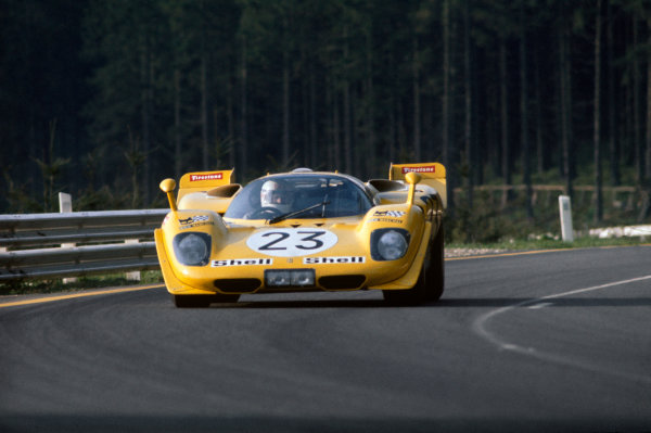 1970 Spa Francorchamps 1000 kms. Spa Francorchamps, Belgium. 17th May 1970. Rd 6. Derek Bell/Hughes de Fierlant (Ferrari 512S), 8th position, action.  World Copyright: LAT Photographic.